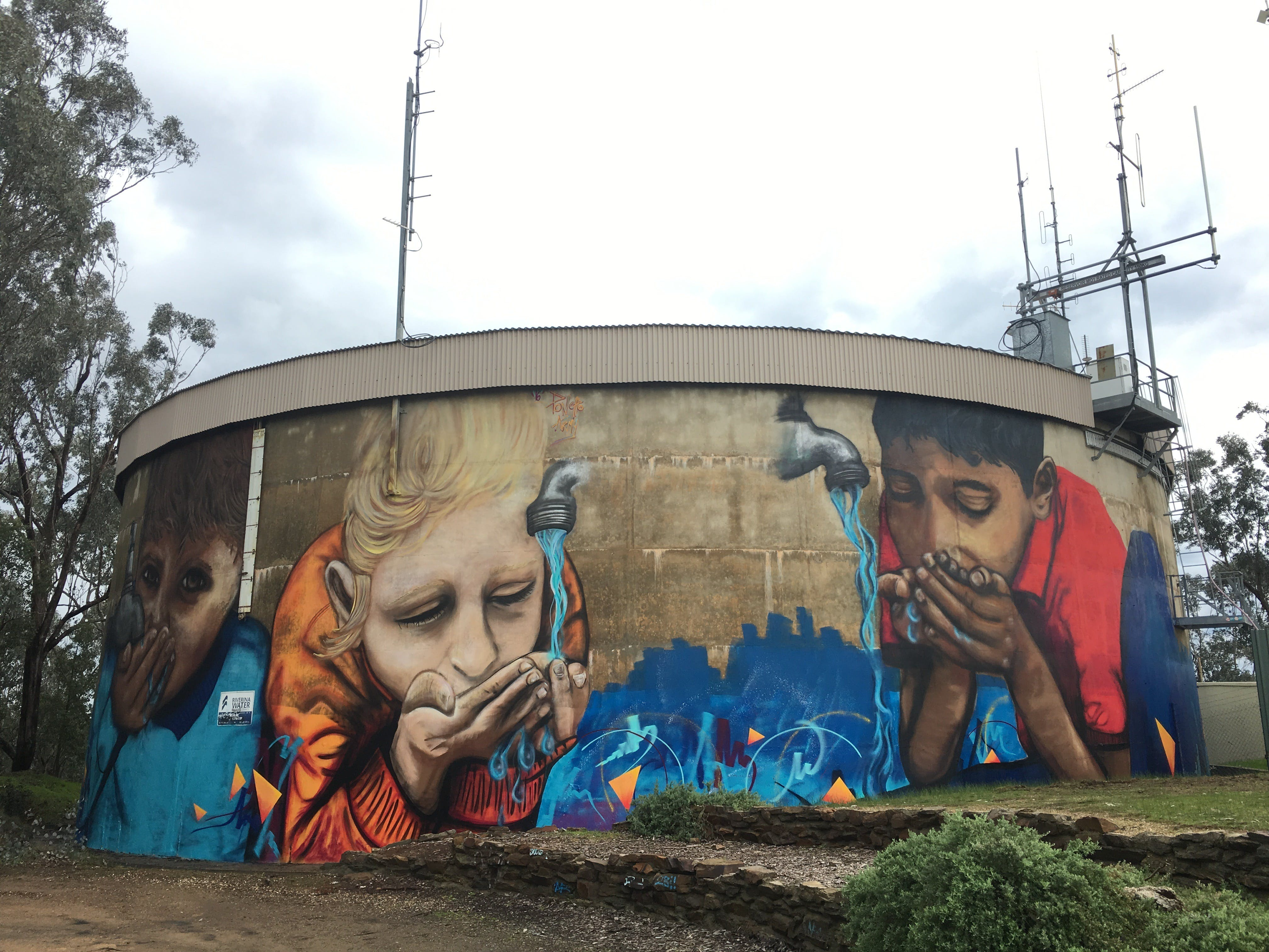 Willans Hill Water Tower Mural - Accommodation Rockhampton