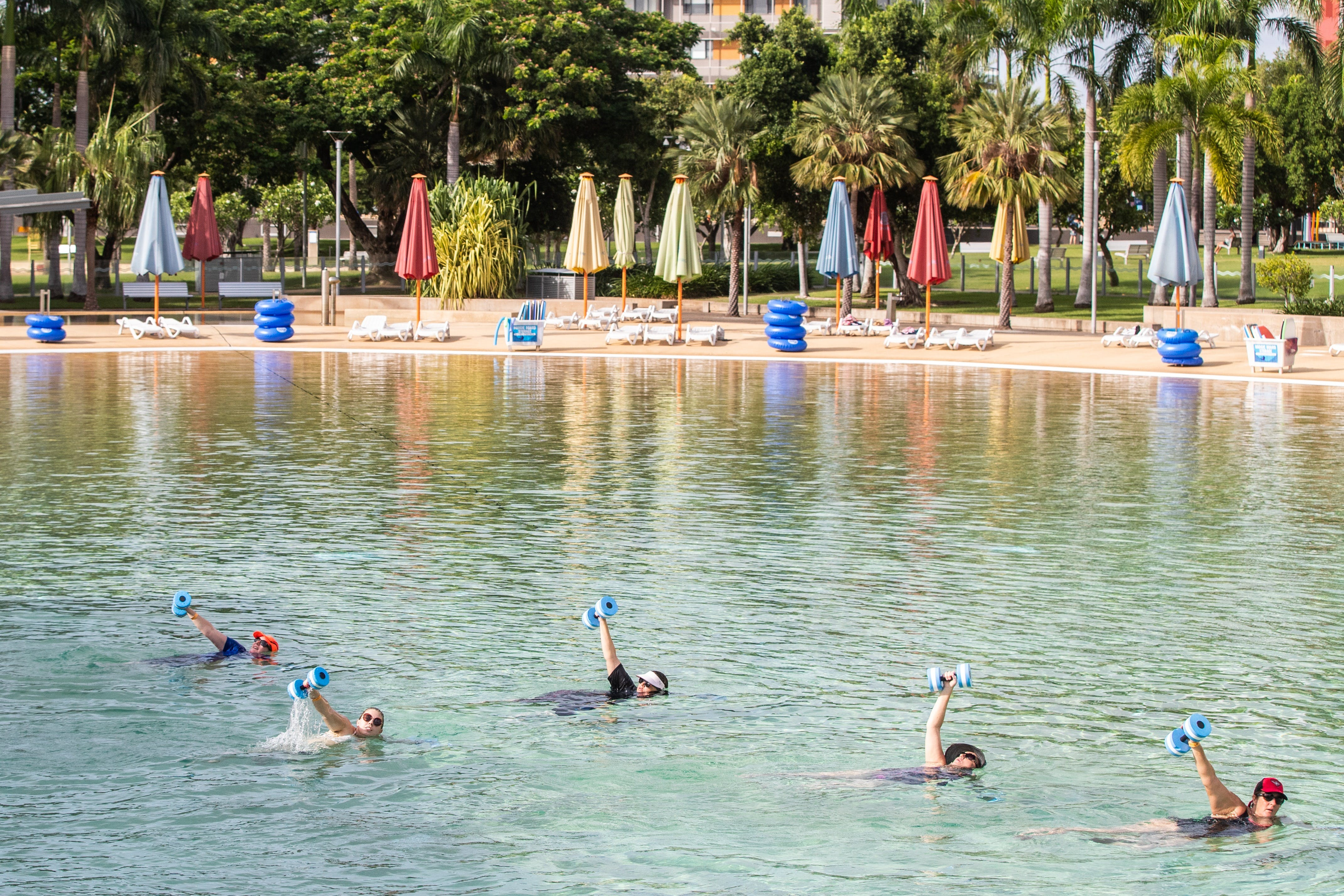 Aqua fitness in the Wave Lagoon - Accommodation Rockhampton